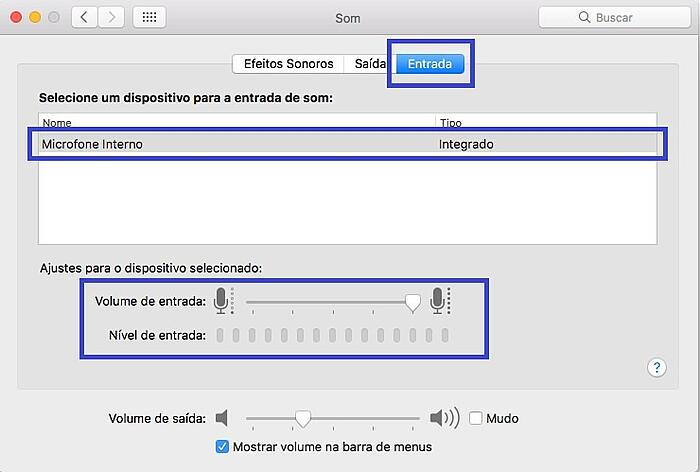 Entrada de som Mac