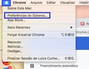 Preferência do sistema Mac